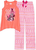 Asstd National Brand Sleep On It Zebra 2-pc. Short-Sleeve Pants Set - Girls 7-14
