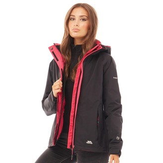 Trespass Womens Florissant Waterproof Hooded Shell Jacket Black