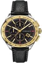 Versace Glaze Chronograph Leather Strap Watch, 44mm