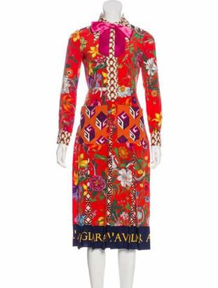 Gucci Printed Midi Dress Red
