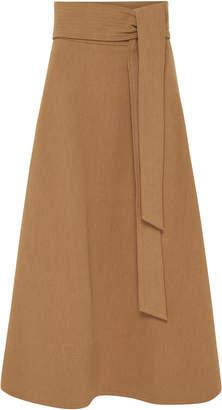 St. Agni Manami Belted Cotton-Linen A-Line Midi Skirt