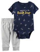 """Carter's 2-Piece """"Daddy's Rock Star"""" Bodysuit and Pant Set in Navy"""