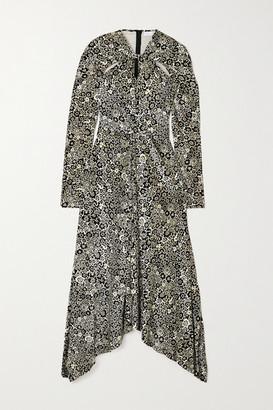 Rosetta Getty Asymmetric Twist-front Floral-print Stretch-velvet Dress - Black