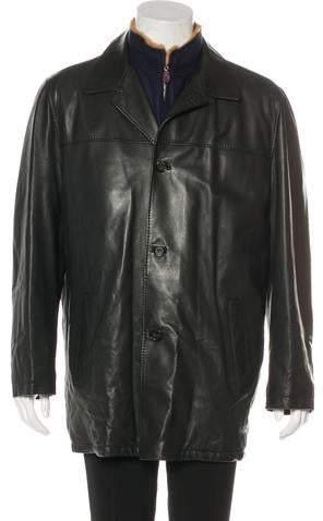 Kiton Fur & Cashmere-Lined Leather Coat
