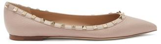 Valentino Rockstud Point-toe Leather Ballet Flats - Nude