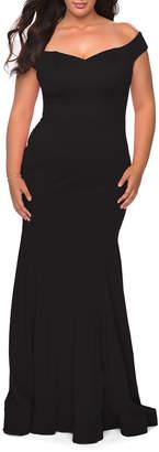 La Femme Plus Size Off-the-Shoulder Jersey Bodycon Gown