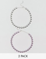 Asos Pack of 2 Metallic Circle Choker Necklaces