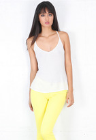 Ribbed Tucked Racer Tank in White