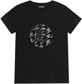 Balmain Kids Sequined cotton T-shirt