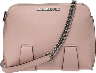 Karl Lagerfeld Paris Light Pink Leather Crossbody Bag