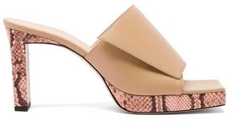 Wandler Isa Square Open-toe Platform Leather Mules - Womens - Beige Multi