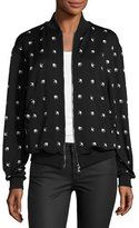 McQ by Alexander McQueen Casual Swallow-Print Bomber Jacket, Darkest Black