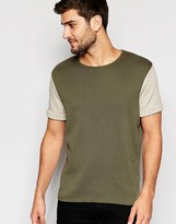Asos Knitted T-shirt With Contrast Sleeve