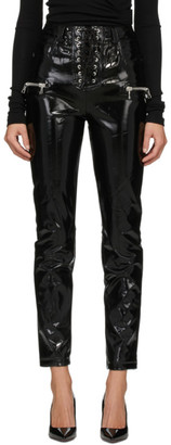 Unravel Black Vinyl Lace-Up Trousers