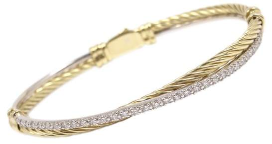 David Yurman 18K Yellow and White Gold 0.50ct Diamond Cable Crossover Bracelet