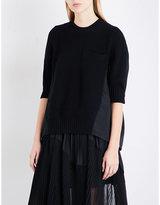 Sacai Contrast-panel wool and poplin jumper