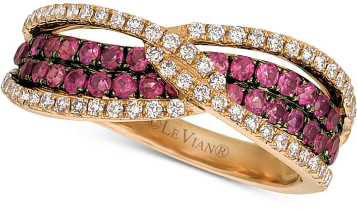 LeVian Le Vian Raspberry Rhodolite (3/4 ct. t.w.) & Diamond (1/3 ct. t.w.) Ring in 14k Rose Gold