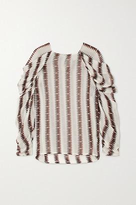 MUNTHE Explore Striped Voile Top - White