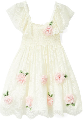 Biscotti Girls' Special Occasion Dresses IVORY - Ivory Floral-Accent Smocked Dress - Toddler