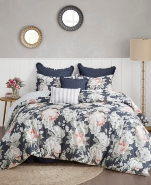 Madison Home USA Mavis 8 Piece California King Cotton Printed Reversible Comforter Set Bedding