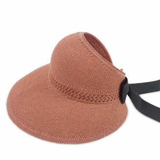 DORRISO Straw Hat Ladies Floppy Summer Sun Beach Straw Hat UPF 50 Foldable Wide Brim Adjustable Sunscreen Sun Hat Brown