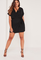 Missguided Plus Size Kimono Sleeve Wrap Dress Black