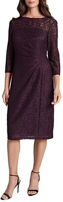 Tahari ASL Petite Side Ruched Stretch Beaded Lace Cocktail Dress (Plum) Women's Dress