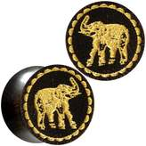 Body Candy Organic Dark Tamarind Wood Yellow Honey Elephant Saddle Plug Set 9/16""