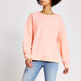 River Island Womens Bright Pink ribbed boxy fit sweatshirt