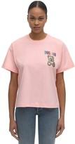 Moschino Over Crop Jersey T-shirt W/embellishment