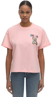 Moschino Over Crop Jersey T-shirt W/embellishment