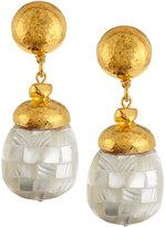 Jose & Maria Barrera Hammered Golden Mother-of-Pearl Inlay Drop Earrings