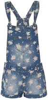 Ribbon Floral Denim Dungaree Playsuit