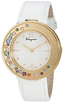 Salvatore Ferragamo Women's 'Gancino Sparkling' Quartz Stainless Steel and Leather Casual Watch, Color:White (Model: FF5900015)