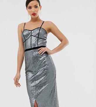Little Mistress Tall metallic strap maxi dress