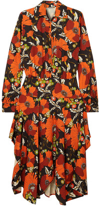 Dodo Bar Or Natasha Asymmetric Floral-print Jersey Midi Dress