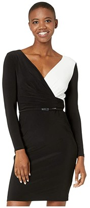 Lauren Ralph Lauren Two-Tone Jersey Dress (Black/Lauren White) Women's Dress