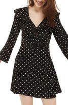 Topshop Women's Polka Dot Ruffle Minidress