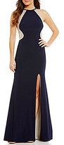 Xscape Evenings Halter Sequin Back Column Gown