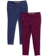 Vigoss Denim Blue & Purple Leopard Leggings Set - Toddler