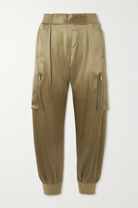 ATM Anthony Thomas Melillo Silk-satin Tapered Track Pants - Army green