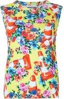 Moschino floral and traffic cone shell top - women - Cotton - 40