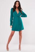 Missguided Teal Basic Wrap Blazer Dress