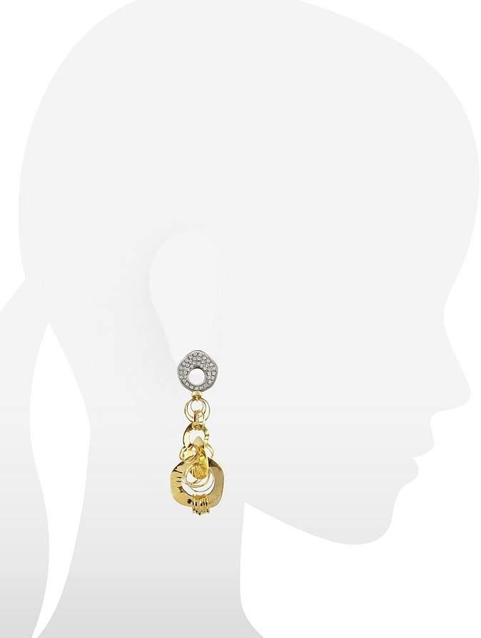 Orlando Orlandini Fashion - Diamond 18K Two-tone Gold Drop Earrings