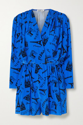 Balenciaga Wrap-effect Printed Stretch-velvet Playsuit - Blue