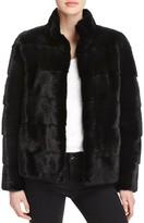 Maximilian Furs Leather-Trim Long-Sleeve Mink Jacket