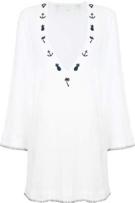 The Upside embroidered V-neck mini dress