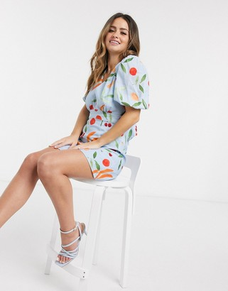 Finders Keepers calypso fruitbowl mini dress in blue fruitbowl