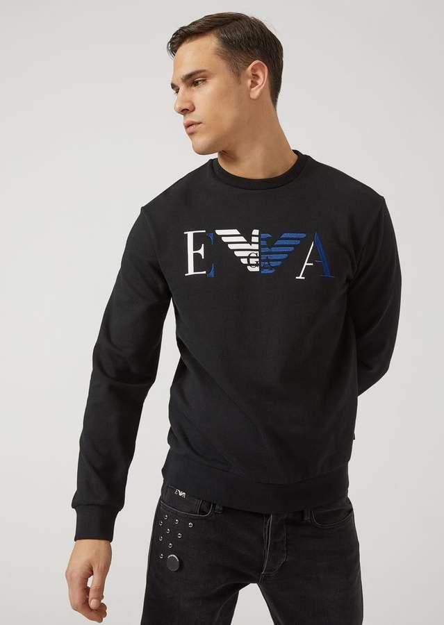 Emporio Armani Cotton Sweatshirt With Print And Embroidered Ea Logo