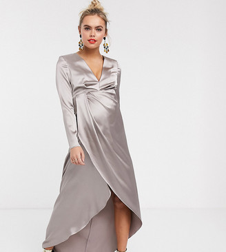 ASOS EDITION Maternity split side plunge maxi dress in satin